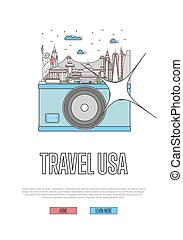 Travel USA poster with camera