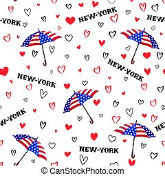 Travel USA seamless pattern. Love New York City background.