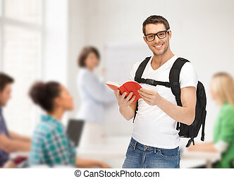 travelling student with backpack and book - travel, vacation...