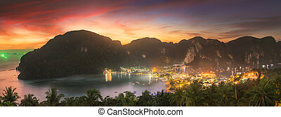 Travel vacation background - Tropical island at sunset with ...