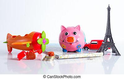 Travel vacation money saving concept