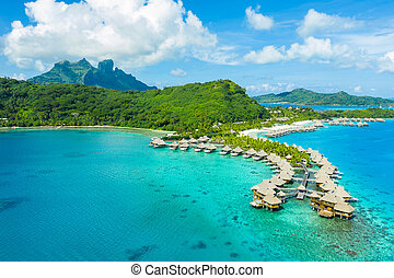 Travel vacation paradise aerial image with overwater...