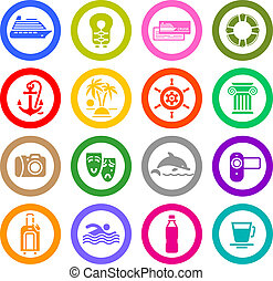 Travel, Vacation & Recreation, icons set. Sport, Tourism. ...
