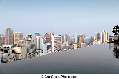 view from infinity edge pool to bangkok city