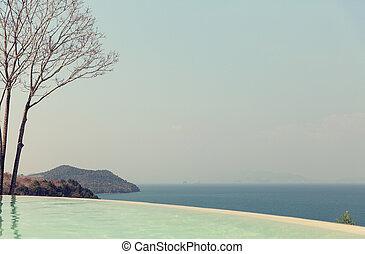 beautiful view from infinity edge pool to sea
