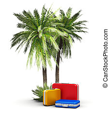 Travel, vacations and tourism concept: group of color travel...