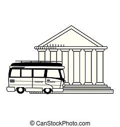 travel van and pantheon icon