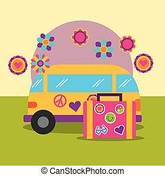 travel van and suitcase flowers retro hippie free spirit