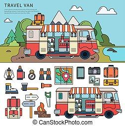Travel van near the sea