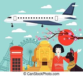 Travel vector banner illustration