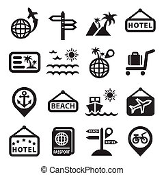travel vector icons - Elegant Travel Icons Set Created For...