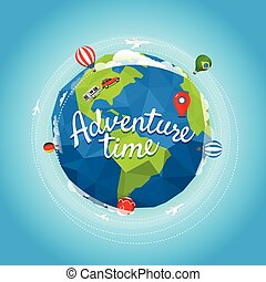 Travel vector illustration. Adventure time concept