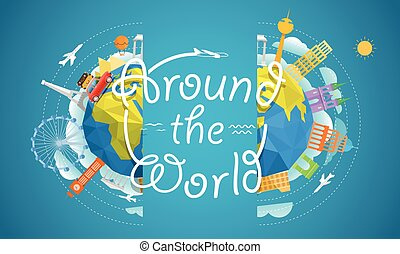 Travel vector illustration. Around the world concept. Travel guide template