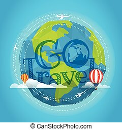 Travel vector illustration. Go travel concept with baloon and plane