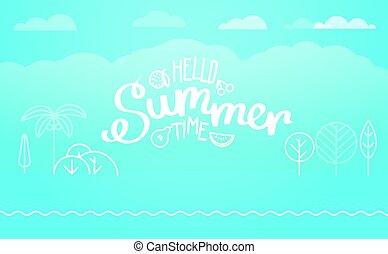 Travel vector illustration. Hello summer