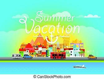 Travel vector illustration. Summer vacation travel