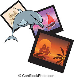 dolphin and  photoframes