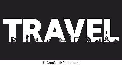 Travel - vector letters for design