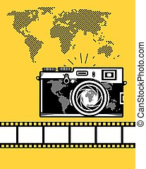Travel vector set of camera, map and camera roll on yellow