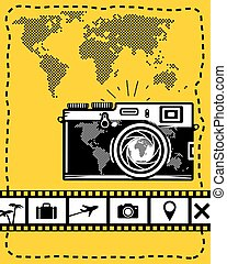 Travel vector set of camera, map and travel icons on yellow