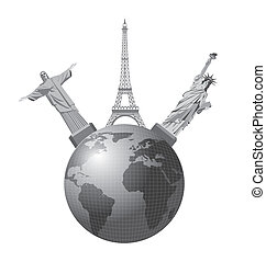 travel vector - world monuments over earth isolated over...