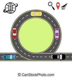 Travel via navigation. Abstract highway road. Transport illustration