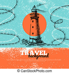 Travel vintage background. Sea naut