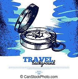 Travel vintage background. Sea nautical design. Hand drawn textured sketch illustration