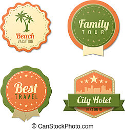 Travel Vintage Labels template collection. Tourism stickers...