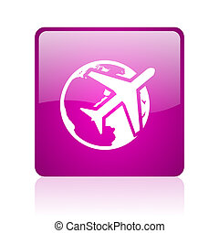 travel violet square web glossy icon