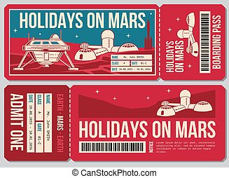 Travel voucher vector ticket. Holiday on Mars promo action....