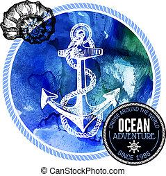 Travel watercolor background. Sea nautical design.