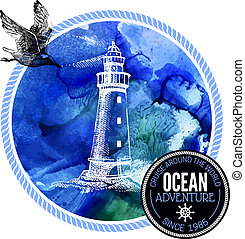 Travel watercolor background. Sea nautical design. Hand drawn te
