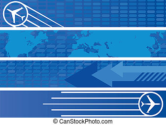 Travel Web Banners in Shades of Blue