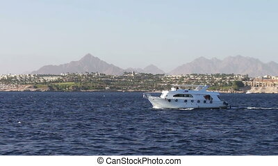 travel white yachts swaying in the waves. - travel white...