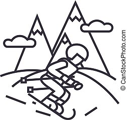 travel winter,skier skiing in high mountains vector line icon, sign, illustration on background, editable strokes