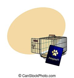 Travel with cats, dogs - metal wire carrier and pet passport