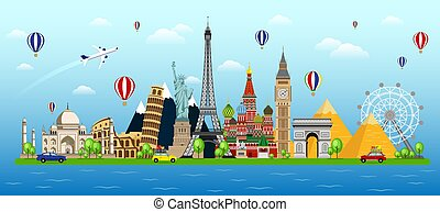 Travel with famous world landmarks. Travel around the world concept background design