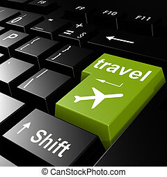 Travel with flight on green keyboard
