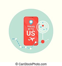 Travel With Us Flyer Of Modern Tourism Agency Isolated Icon