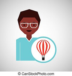 travel woman air balloon red and white design graphic