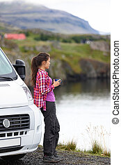 Travel woman by mobile motor home RV campervan