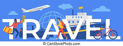 Travel word concept, cartoon traveler running with plane or ship cruise ticket, tourist traveling