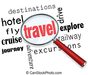 Travel word under a magnifying glass to illustrate searching for and planning parts of a vacation, with words destination, excursion, journey, explore, hotel, fly, cruise, drive and more