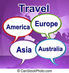 Travel Words Represents Journeys Expedition And Traveller -...
