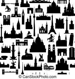 Travel world landmarks tile pattern. Travel sight icon set