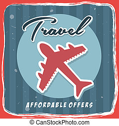 travel world wide over red background vector illustration