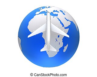 travel worldwide - 3d rendered illustration of a plane on a...