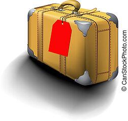 traveled, mala, com, viaje rótulo