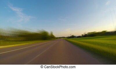 traveled, op, landelijke straat, timelapse